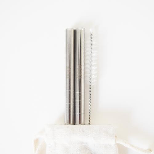 Daugkartiniai, nerūdijančio plieno šiaudeliai (2 vnt. / sidabro spalvos)
