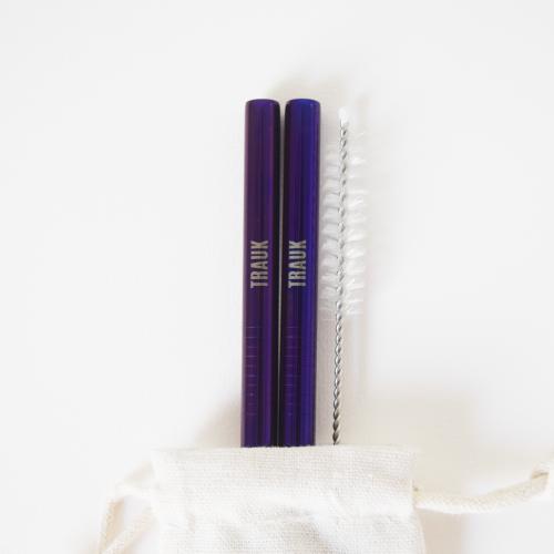 Daugkartiniai, nerūdijančio plieno šiaudeliai (2 vnt. / violetinės spalvos)